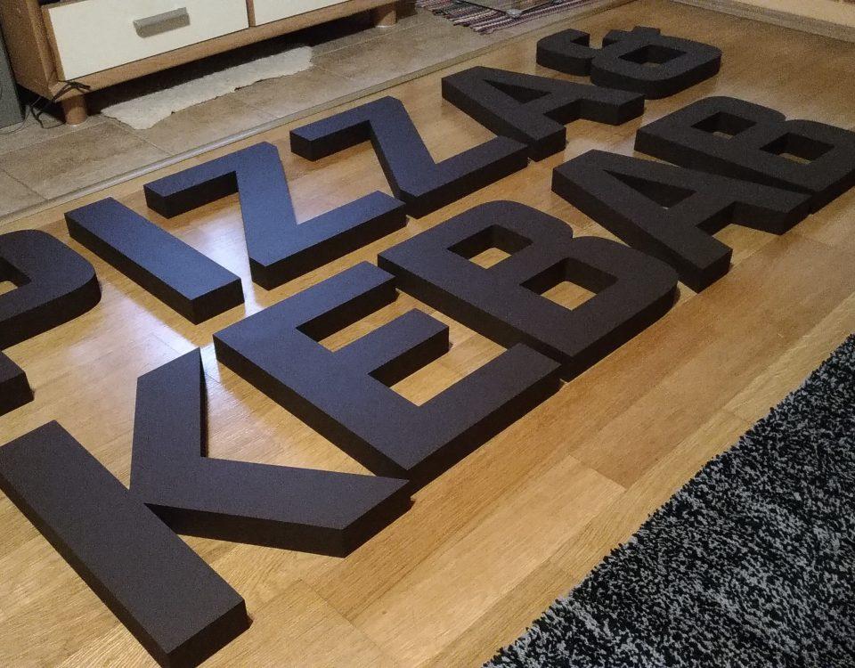 3D nápis pizza
